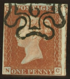 1841 1d Red cancelled by a 6 in maltese cross SG 8m