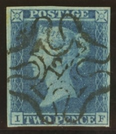 1841 2d Blue cancelled by a 12 in maltese cross SG 14f