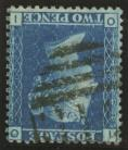 1858 2d Blue SG 45 Plate 9 Variety inverted watermark