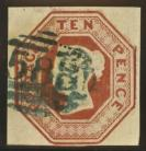 1847 10d Brown Die 4 SG 57