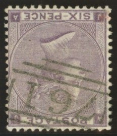 1862 6d Lilac with variety inverted watermark SG 84i