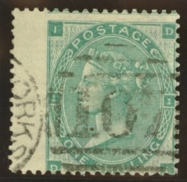 1862 1/- Green on thick paper SG 90d