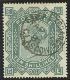 1867 10/- Greenish grey SG 128
