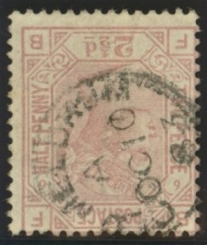 1873 2*d Rosy mauve SG 141 Plate 6 Variety inverted watermark