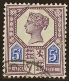 1887 5d Purple + blue Die 1 SG 207