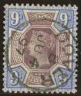 1887 9d Dull purple + blue SG 209