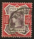 1887 10d Dull purple + deep dull carmine SG 210a