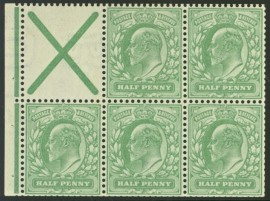 1902 ½d St Andrews cross booklet pane SG 218a