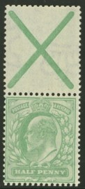 1902 ½d Green variety with St Andrews cross attached SG 218a