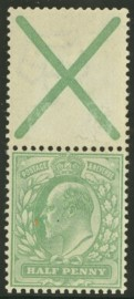 1902 ½d Green variety St Andrews cross attached SG 218a