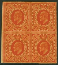 1902 4d Orange plate proof with double impression