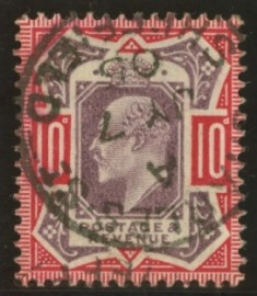 1902 10d Dull purple + carmine variety no cross on crown SG 254a