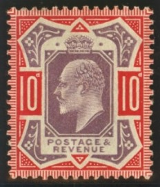 1902 10d Dull purple + scarlet variety no cross on crown SG 256a