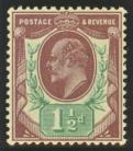 1911 1*d reddish purple + bright green SG 287