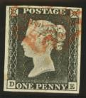 1840 1d  Grey black (very worn plate) SG 3 DE Plate 1a