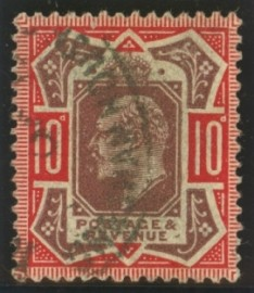 1911 10d Dull purple + scarlet variety mark after E of postage