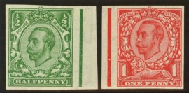 1912 ½d Green + 1d Scarlet variety imperf