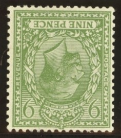 1912 9d Olive green variety inverted watermark SG 393ai