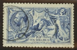 1915 10/- Deep blue (worn plate) SG Spec N 70 (8)