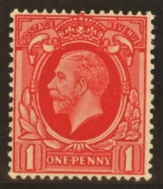 1934 1d Scarlet Variety printed on the gum side SG 440b