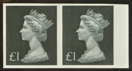 1971 £1 Black SG 831b Variety imperf pair