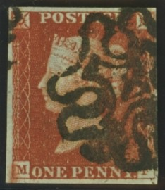1841 1d Red cancelled by a 4 in maltese cross SG 8m